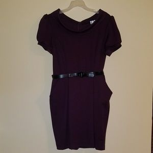 Dresses & Skirts - Vintage style purple belted dress.